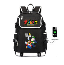 цена на anime POP TEAM EPIC Backpack Canvas USB Charging Laptop Backpack Popuko Pipimi student School Bags Teenage Rucksack