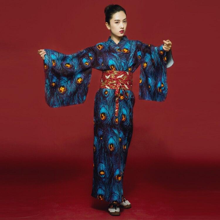 Lady Japanese Tradition Yukata Kimono Bath Robe Gown With Obi Flower Vintage Evening Party Dress geisha Cosplay Costume H9019