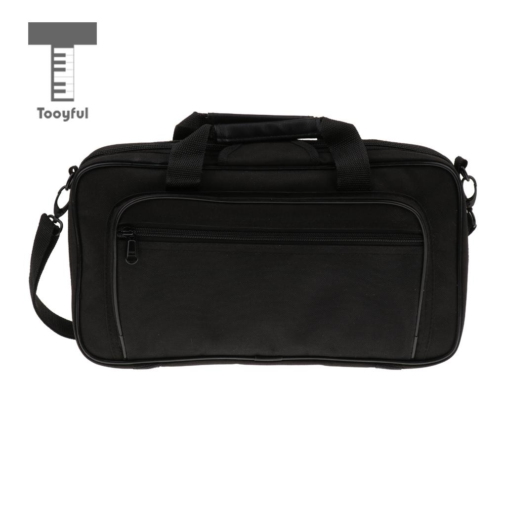 Tooyful Portable Black Oboe Carrying Shoulder Gig Bag Handbag with Wooden Case Woodwind Instrument Accessory