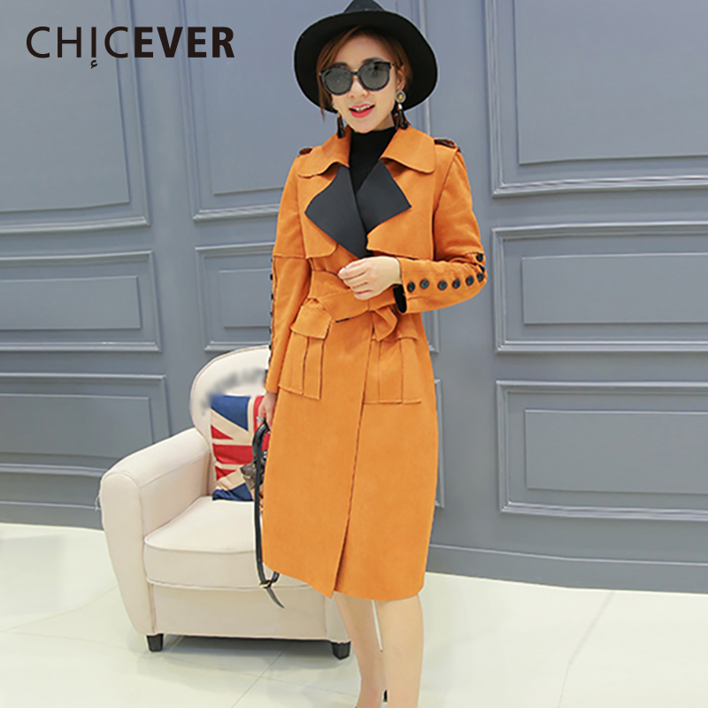 CHICEVER Spring Plus Size   Trench   Coat For Women Windbreaker Long Sleeve Slim Loose Female Coats Clothes Fashion Korean New