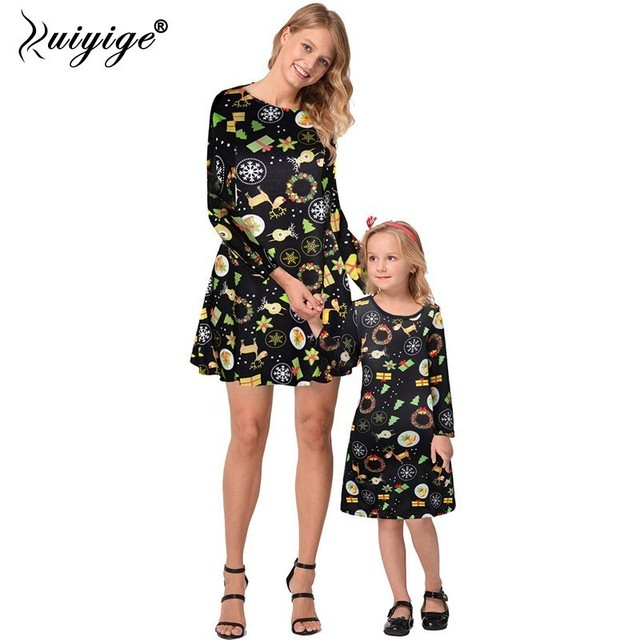 d18cf0238b783 Ruiyige 2018 Christmas Dress Mother Daughter Matching Clothes Winter Autumn  Women Girls Party Dresses Family Christmas