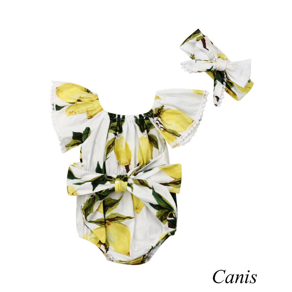 Outfit Baby Bodysuit Romper Lemon Infant Bow Off-Shoulder