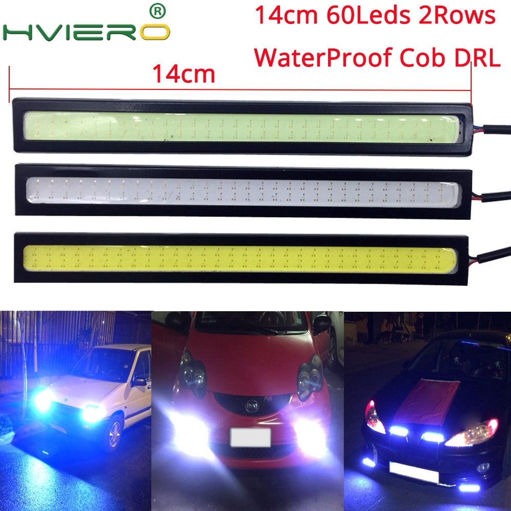 Super Bright 42012mm Cob Led Light Strip 20w Cri 12v Diode How To Build Ultra Lamp 1pcs White Blue 14cm Double Row 60leds Car Auto Drl Driving Daytime Running