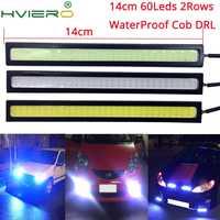 1 piezas blanco azul 14cm doble fila 60Leds COB coche Led Auto DRL conducción diurna Luz de niebla luz DIY Ultra brillante impermeable