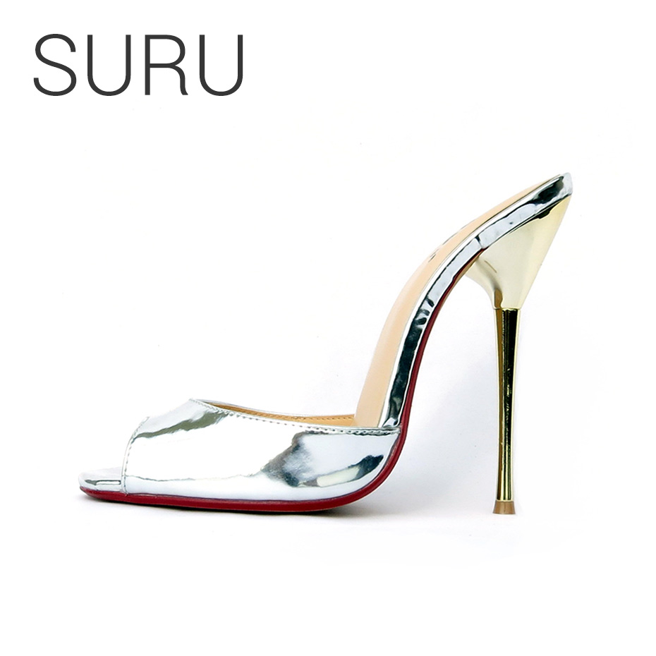 SURU Women Silver Large Size Mules Shoes Women Wedding High Heeled Slipper Sandals For Bride Bridesmaid Plus Size 38 46