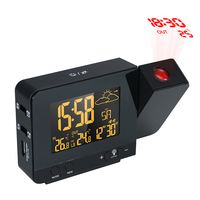 Smart Multifunction Digital LCD Radio Controlled Projection Alarm Clock Weather Station Temperature Calendar Display Dual Alarm