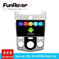 FUNROVER android 9.0 2 din car radio multimedia player For KIA Forte Cerato 2008 2012 dvd gps navigation autoradio 2.5D DSP CDMA