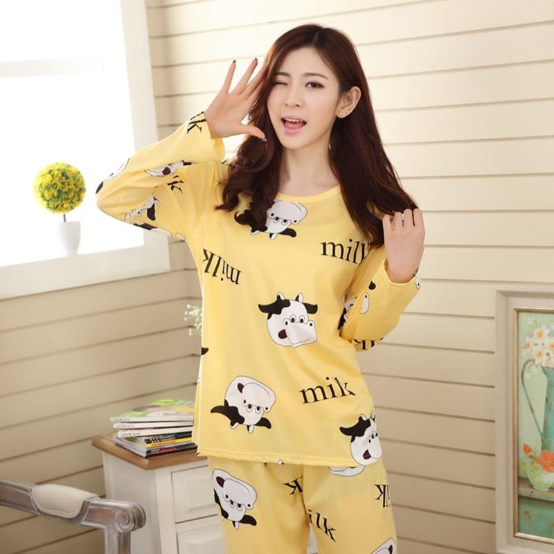 Pajamas     Sets   Spring Autumn 2019 Cute Sleepwear Woman's Long Sleeved Cotton Pyjamas Student Tracksuit Female Pyjamas Night Suit