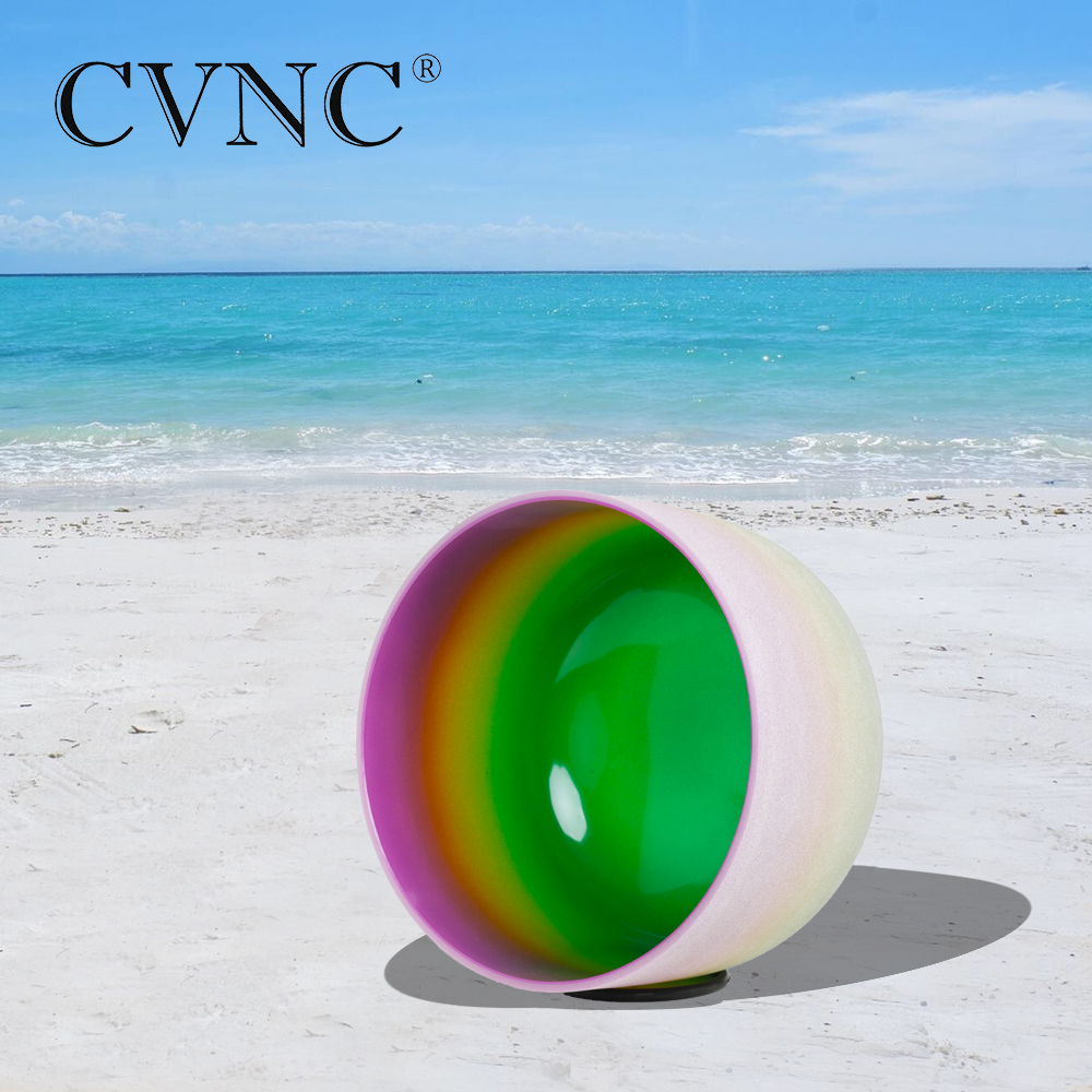 CVNC 8 Note B Crown  Chakra Rainbow  Colored Frosted Quartz Crystal Singing BowlCVNC 8 Note B Crown  Chakra Rainbow  Colored Frosted Quartz Crystal Singing Bowl