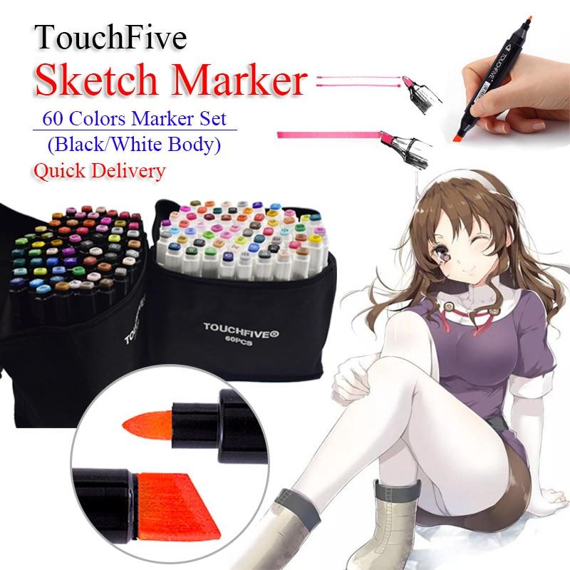 TouchFive 60 couleurs double tête alcool huileux à base d'art marqueurs Architecture conception croquis pinceau stylo pour dessin école Art fournitures