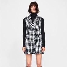 Hot Sale Female Plaid Long Waistcoat Women Tassel Vintage Vests Autumn Winter Double Breasted Sleeveless Overcoat