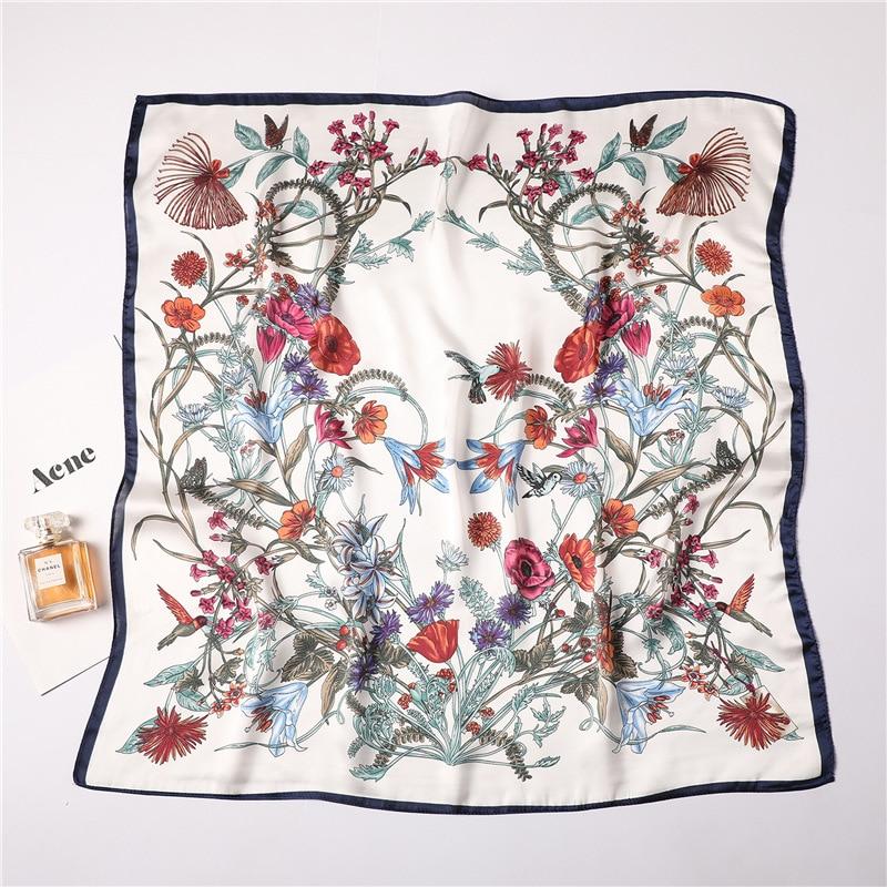 70x70cm Silk Scarf Square For Women Fashion Floral Printed Shawl Wrap Spring Summer Neckerchife Hair Band Lady Winter Scarves