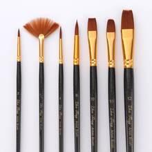 7Pcs Artist Paint Brushes Set Nylon Hair Painting Brush Variety Style Short Rod Oil Acrylic Brush Watercolor Pen Art Supplies