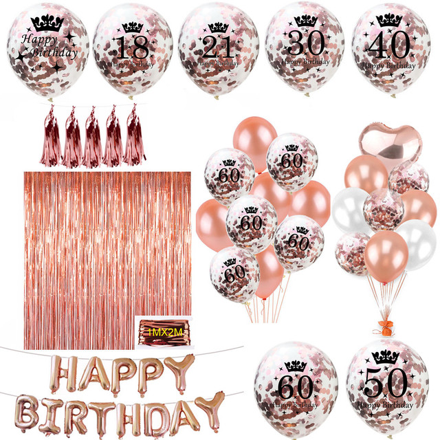 ZLJQ Rose Gold Happy Birthday Bunting Banner Balloons 18 21st 30 40