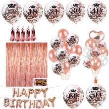 Zljq ouro rosa feliz aniversário bunting banner balões 18 21st 30 40 50 60th número balões adultos festa de aniversário decoração 75