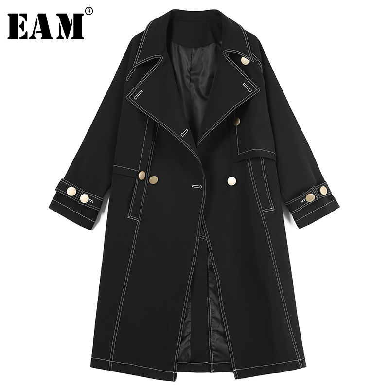 [EAM]2019 New Spring Summer Lapel Long Sleeve Irregular Double Buttons Pockets Loose Long Windbreaker Women Trench Fashion 1C124