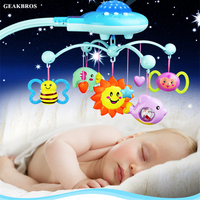 Baby Rattle Infant Toys For 0 12 Months Crib Mobile Bed Bell With Music Sky Stars Projection Early Learning Kids Birthday Toys