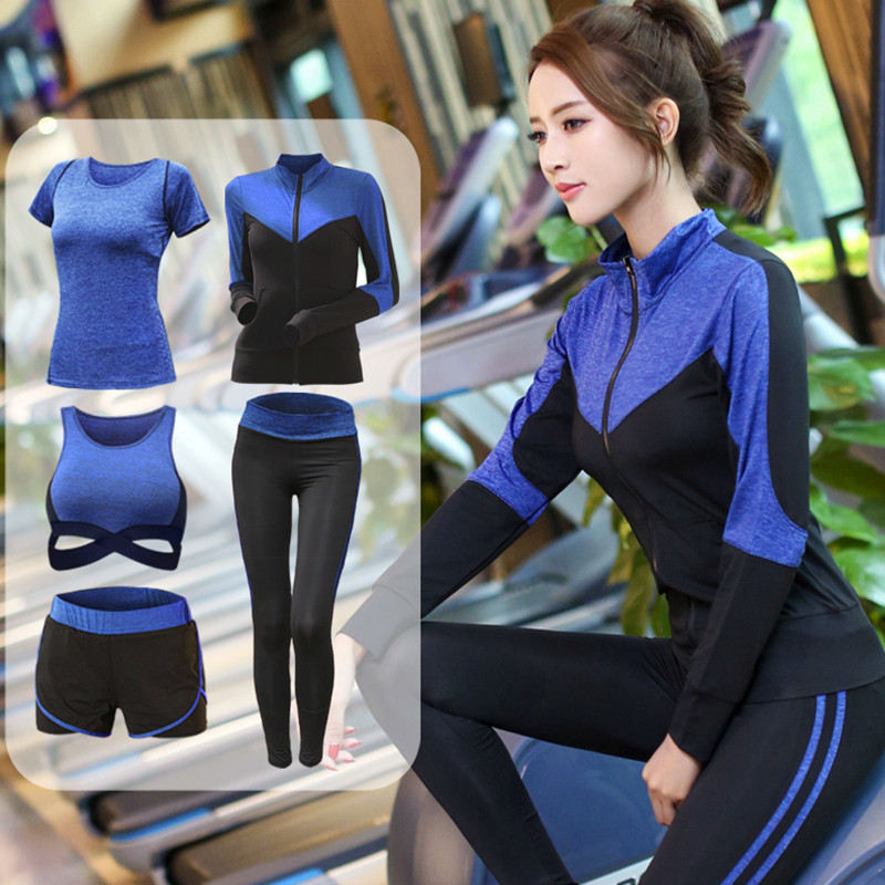 Women 5 Pieces Sportswear Yoga Set Breathable Bodybuilding Workout Jogging Sport Suit Slim Fit Gym Fitness