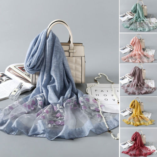 Hot Women Retro Embroidery Floral Silk   Scarf   Shawl Lady Long   Scarves     Wrap   Sun Shade Scarfs