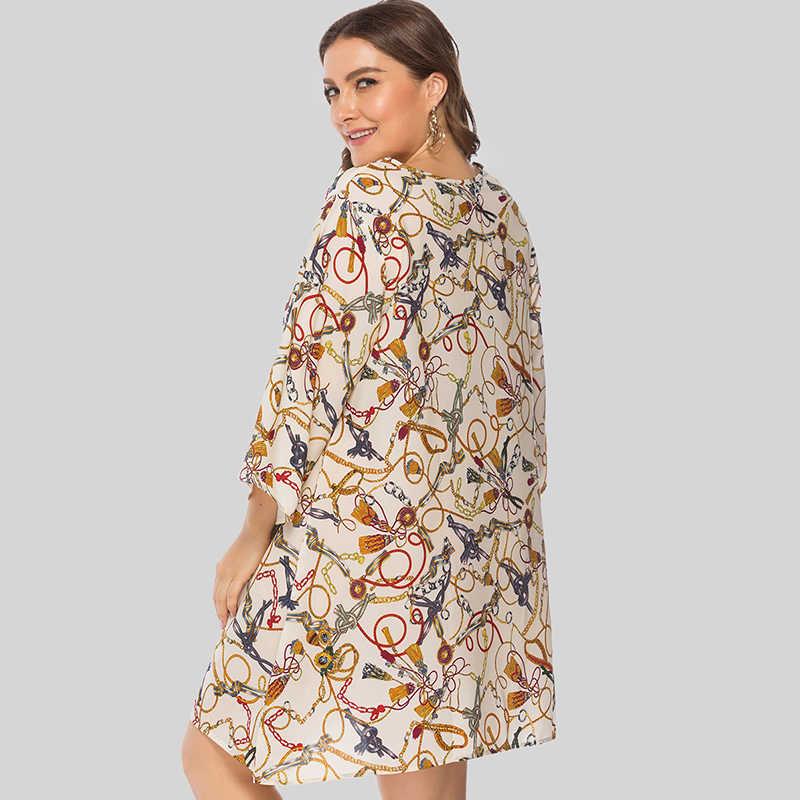 Женское платье больших размеров 5XL, цветной асимметричный подол с цепочкой, 3/4 рукав, свободное мини-платье, летние повседневные платья, elbise