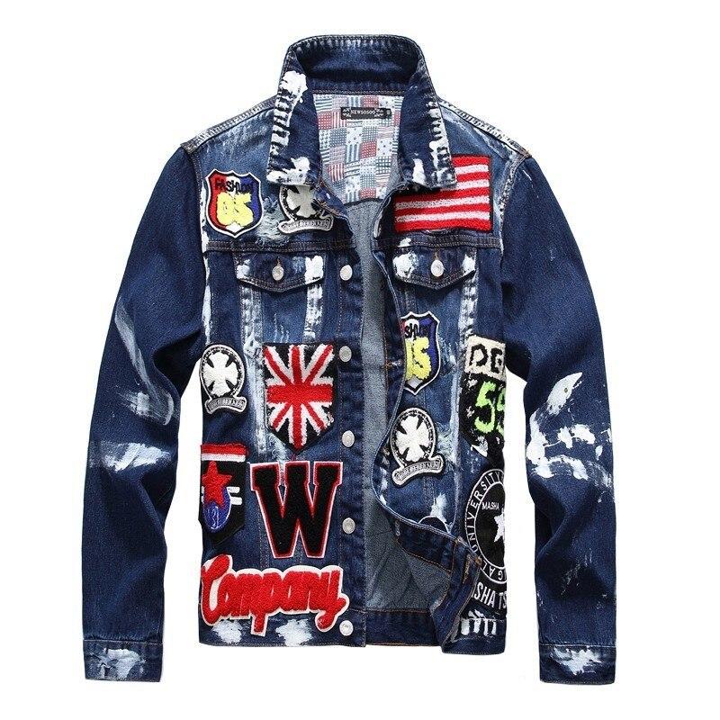Hommes drapeau lettres Patch Design peint Denim veste Badge Patchwork Jean manteau survêtement déchiré en détresse brodé manteau A9106