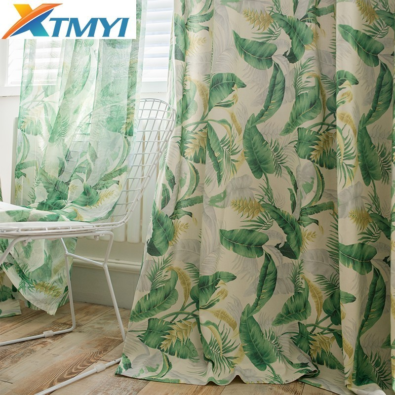 Tropical Leaf Green Blackout Curtains For Living Room Bedroom Window Door Kitchen Home Decorative Curtains Drapes