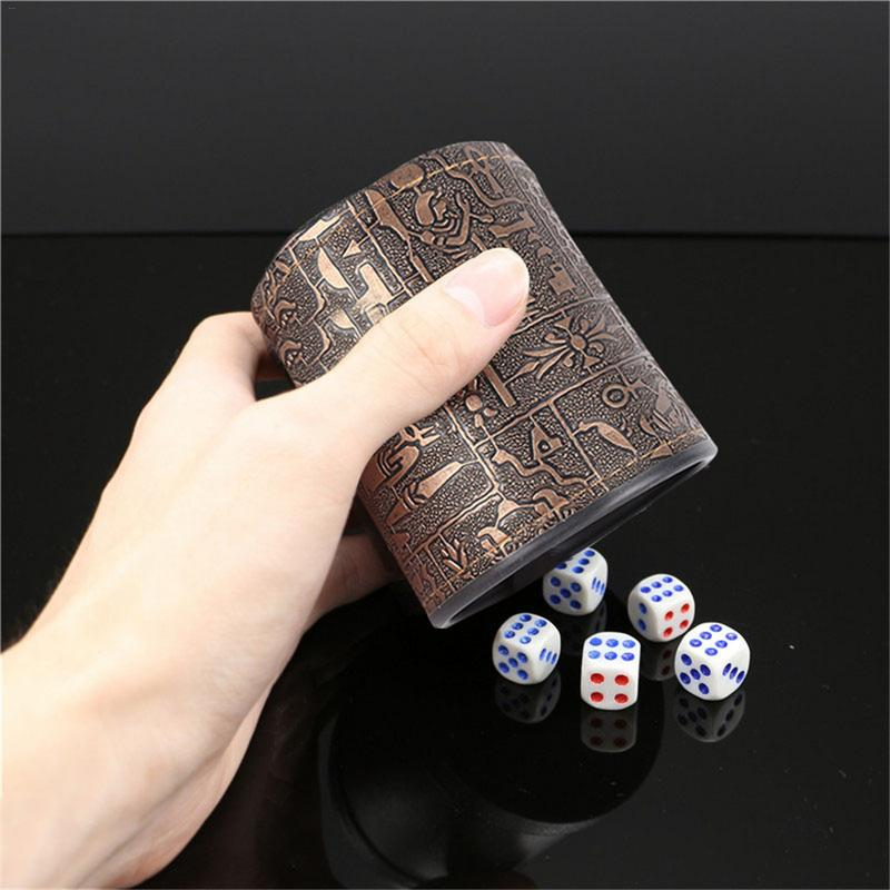 Hot Sale High Quality Leather Dice Cup Egyptian Pattern Leather Straight Dice Cup For Drinking Party Dice Game KTV Bar