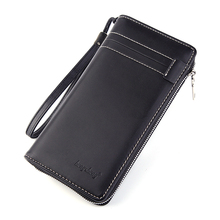 Business Men's Long Wallet Luxury Brand Men Wallets Big Men Purse Brief Leather Zipper Clutch Bag New Male Wallet Coin недорого