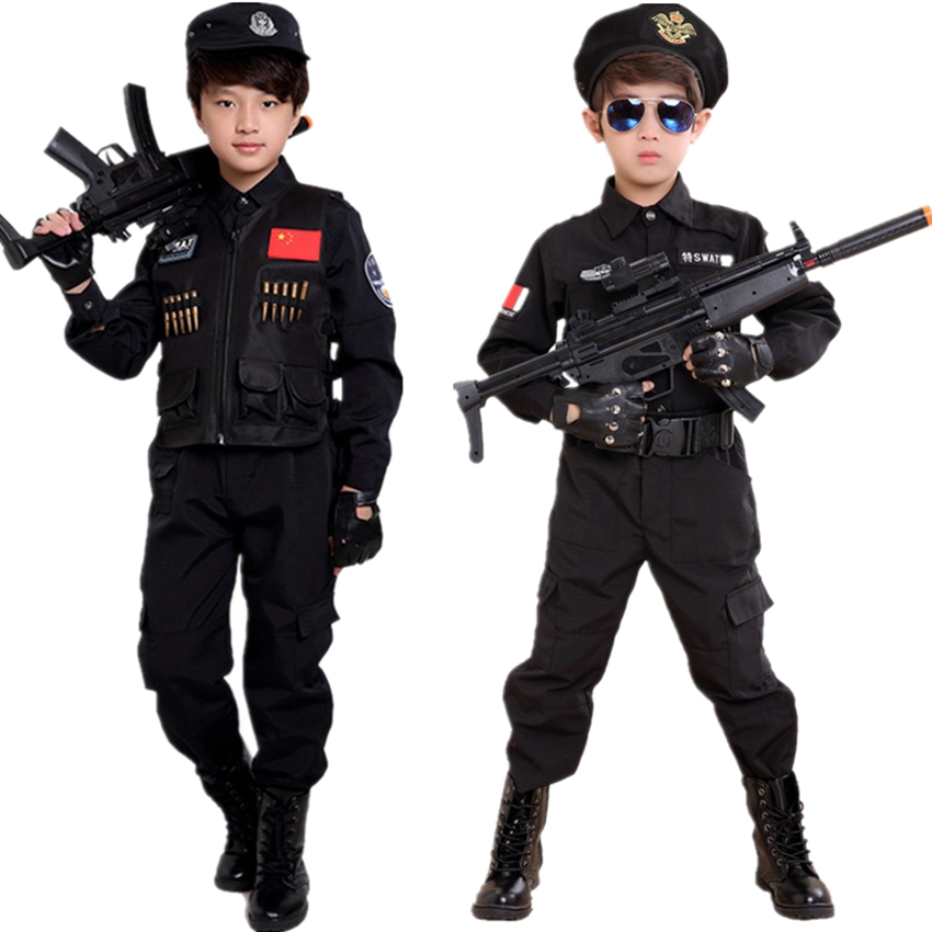 Children Halloween Party Policemen Costumes Carnival Kids Special Force Cosplay Clothing Boys Training Army Performance Suit