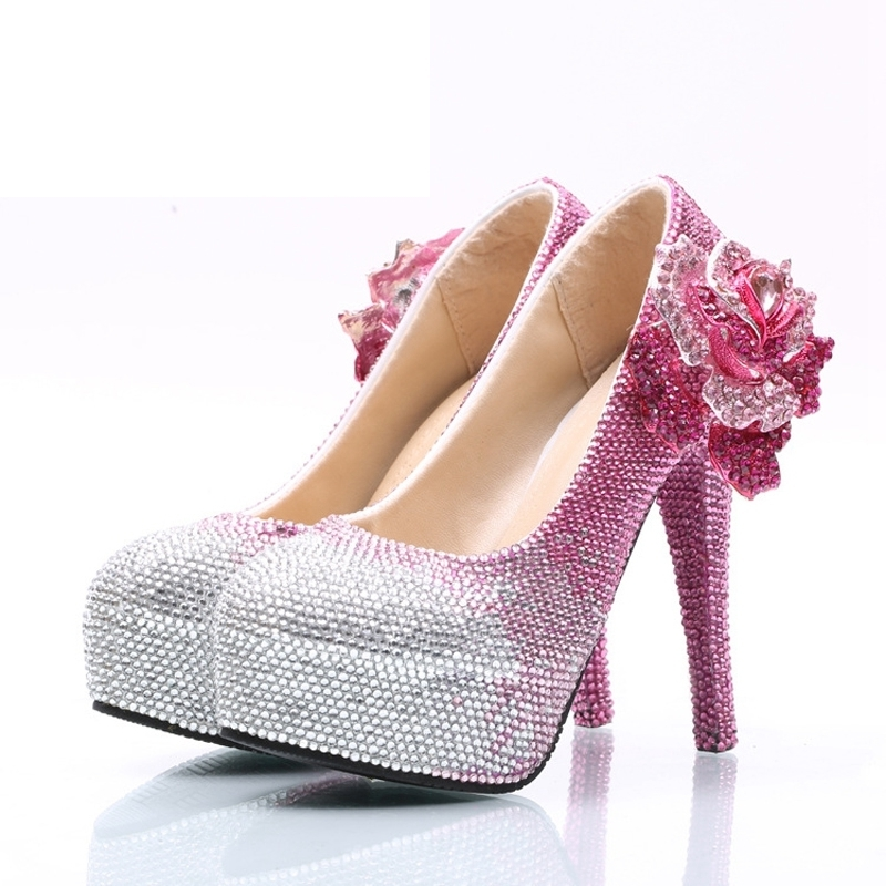 Pink Rhinestone Wedding Shoes Wholesale Price Bridal Dress