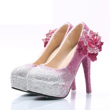 66b4a4336 Vestido de Noiva Sapatos de Casamento Sapatos Strass rosa Preço de Atacado Lindo  Cristal Partido Prom Graduação Partido Bombas D..
