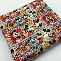 ZENGIA 45x145 cm Mickey Mouse Telas De Impressão De Algodão De Linho Tecido de Lona de Algodão Tecido Para Patchwork/DIY Toalha de Mesa /Tampa do sofá/Sacos