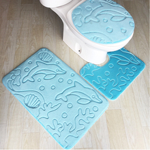 цена на 3Pcs/set Anti Slip Shower Carpets Bathroom Bath Mat Set Toilet Rugs Flannel Set Home Toilet Lid Cover Shower Room Rug Floor Mats