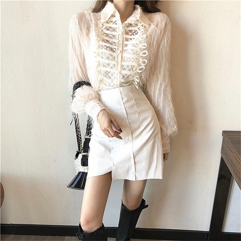 2019autumn Dz288 Women Shirts Sleeve Style Tops breasted Tassels Long Shirt Blouses Special Vintage Blouse Elegant Single rUx1wqrZ