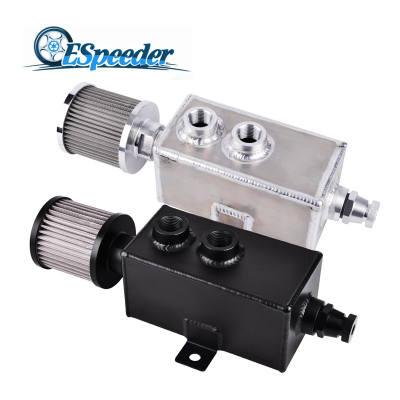 ESPEEDER Universal 3L Billet Aluminum Fuel Tank Reservior Oil Catch Can With Bearther Filter Drain Tap 3LT Baffled Racing Engine