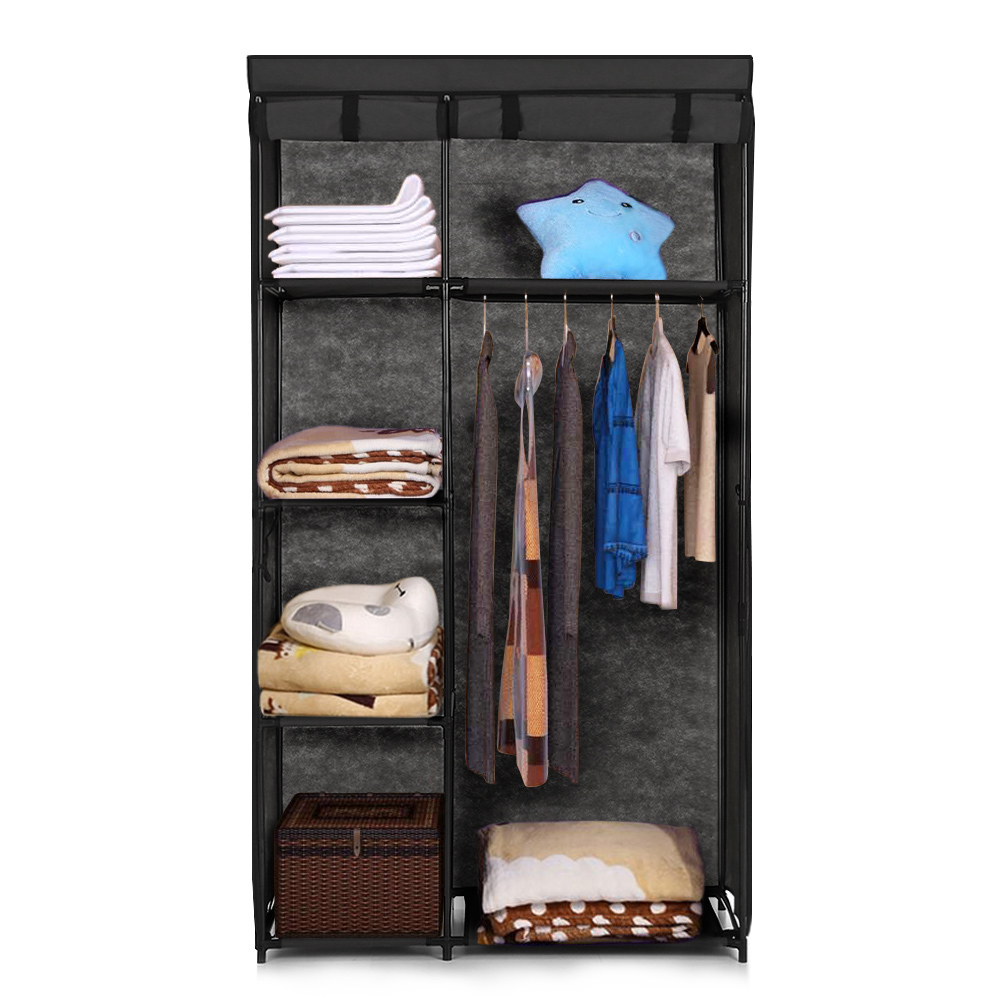 Fabric Closet Wardrobe Cabinet Roll Up Clothing Storage Organizer Clothes Hanger Rack with 5 Shelves 1 Hanging Rod