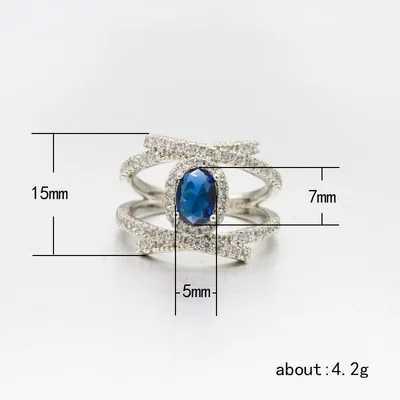 VINTAGE CROSS แหวนหินสีฟ้าแหวนผู้หญิงผู้ชาย 925 Sliver งานแต่งงานเครื่องประดับเจ้าสาวของขวัญแหวน
