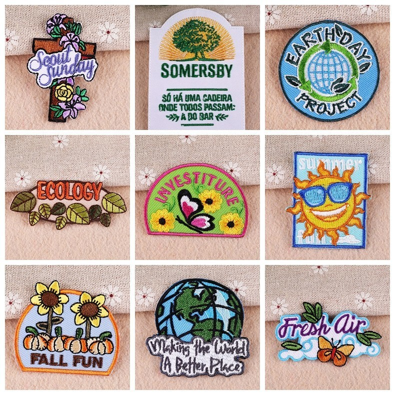 Fine 1 PCS Custom Earth Flower Patches Protect Environment Iron On Stickers for Clothes 3D Diy Embroidered Badges Kawaii Parches