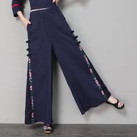 Spring Summer Women Vintage Cotton Linen Wide Leg Pant Elastic Waist Loose Casual Floral Embroidery Pants Female Trousers