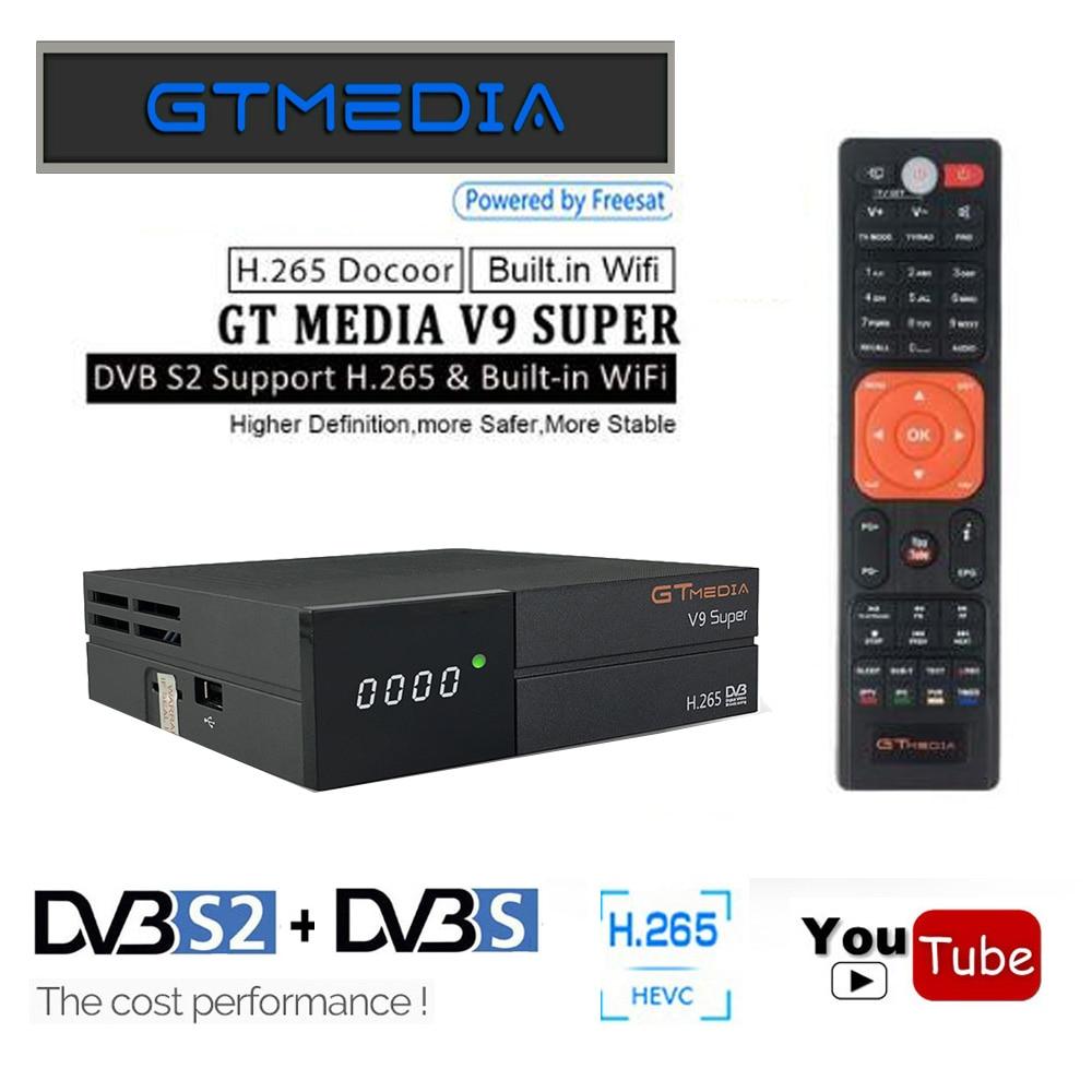 GTMedia V9 Super Satellite Receiver Bult WiFi 1 Year Cline Biss VU H.265 DVB S2/S Better V8 Nova Super Receptor Digital TV Box