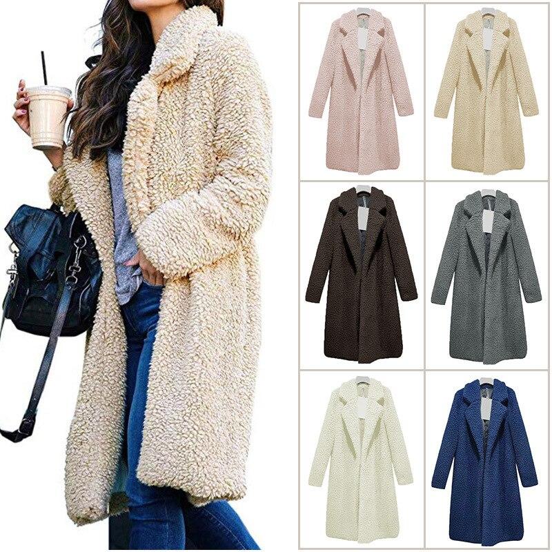 Длинные пальто, флисовые куртки, зимнее теплое плюшевое пальто, кардиган для офисной леди, сексуальные женские шерстяные смеси, Длинные Топ...