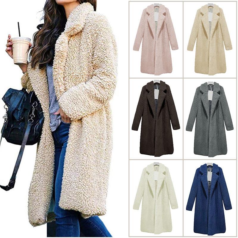 Long Coats Fleece Jackets Winter Warm Teddy Coat Cardigan Office Lady Sexy Women Wool Blends Full Tops Overcoats Plus Size