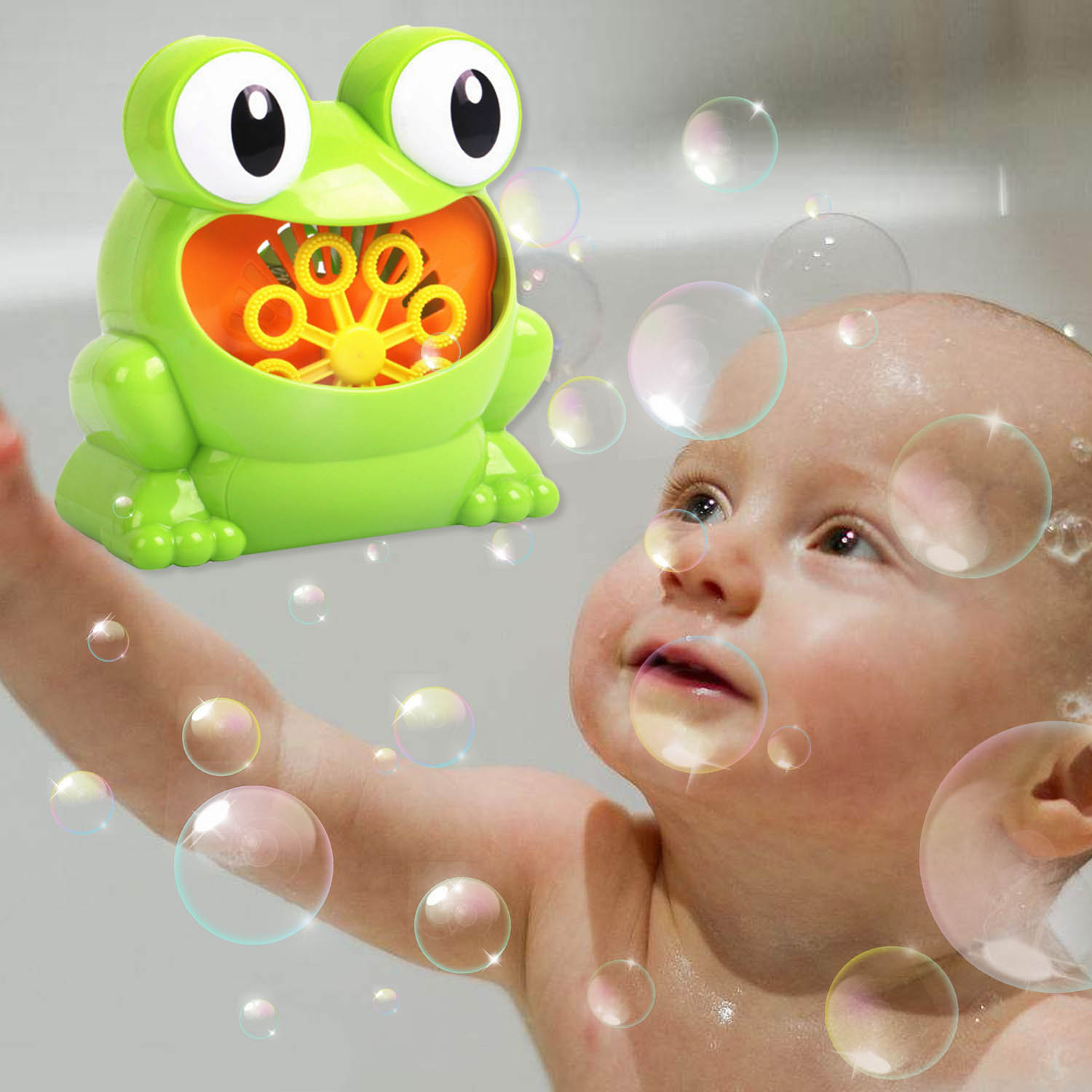 Kids Funny Cartoon Battery Powered Automatic Frog Bubble Machine Electric Soap Bubble Maker Machine Blower Bath Outdoor Toy