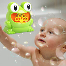 Besegad Cute Funny Battery Powered Electric Frog Bubble Maker Machine Blower Toy for Children Kids Baby Showers Pool Bathtub