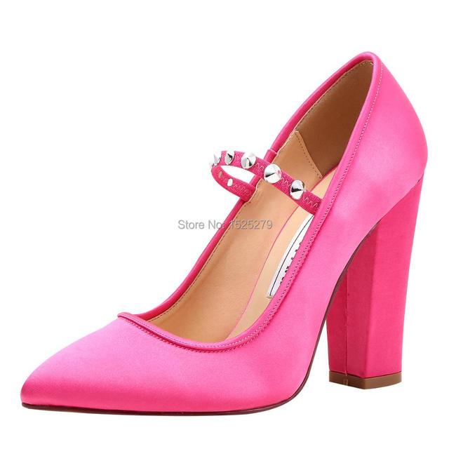 Woman Shoes Mary-jane Pointed Toe Chunky High Heel Satin Rivet Bridesmaid  Bridal Wedding Pumps Hot Pink Navy Blue Black HC1904 934befab897f