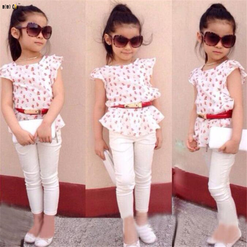 Floral Printed Women Outfit Children Garments Set three pcs High & Pants & Waistband Summer time Youngster Lady Clothes 2 three four 5 6 7 eight Years Clothes Units,...