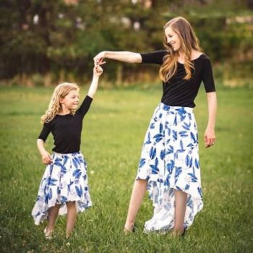 Pudcoco Floral Mom-Daughter Garments 3/four Sleeve Prime Tutu Costume Household Matching Cotton Costume Outfits Matching Household Outfits, Low cost Matching Household Outfits, Pudcoco Floral Mom Daughter Garments 3/four Sleeve...