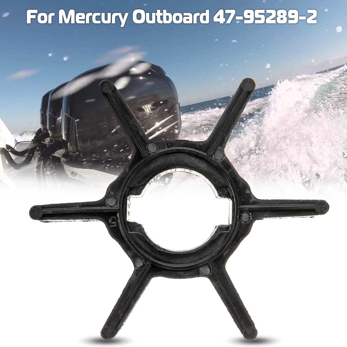 Outboard Motor Replacement 47-952892 Water Pump Impeller For Mercury 2.2-3.3HP 6 Blades Rubber Black Accessories Diameter 43mm