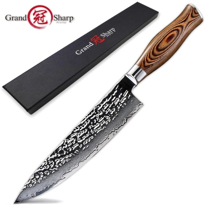 Damasco cuchillo de Chef vg10 japonés cuchillos de cocina 67 capas Damasco tipo cuchillo de cocina del Chef herramienta profesional de acero inoxidable