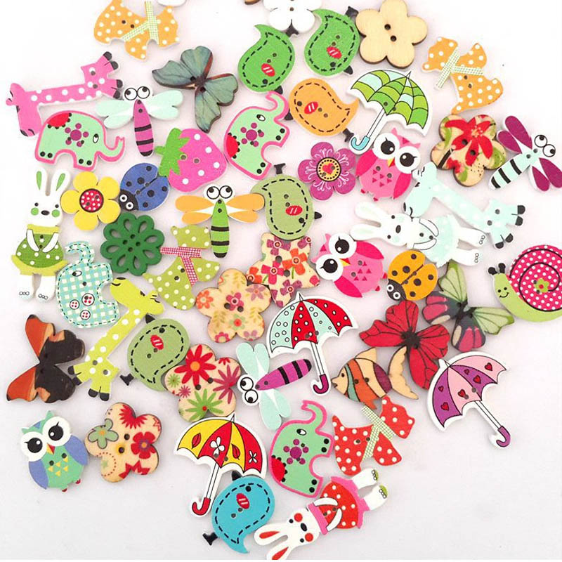 Decorative Button For Children Scrapbooking Accessories Sewing Mixed Flower Wooden Buttons Printing Clothes Crafts Animal